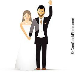 Wedding couple waving