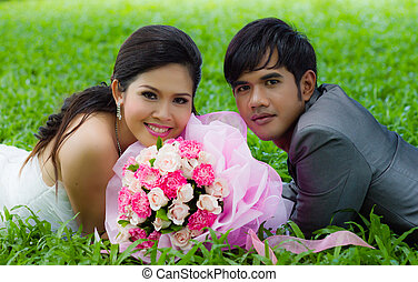 Wedding couple with flower