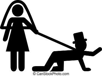 Wedding couple with groom on leash