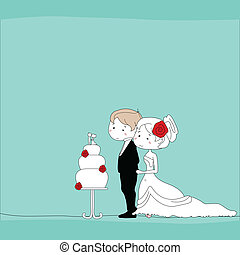 wedding couple with wedding cake background