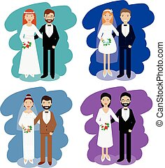 Wedding couples collection. Smiling bride and groom happy pairs vector illustration