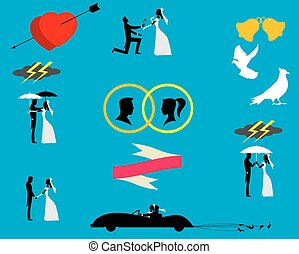 Wedding couples in silhouette