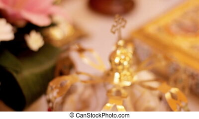 Wedding crowns and church attributes for marriage. Close-up