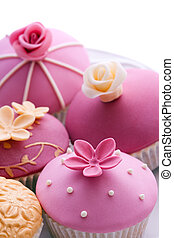 Wedding cupcakes - Gourmet cupcakes decorated in purple and...