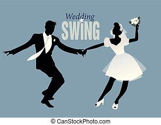 Wedding Dance. Bride and groom dancing swing, lindy hop or ...