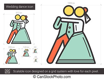 Wedding dance line icon.