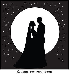 silhouette of a dancing couple married against the backdrop of the moon and the sky