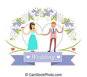 Wedding Dancing Bride, Groom Vector Illustration