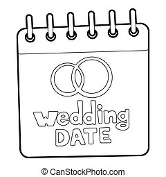 Wedding date icon, outline style