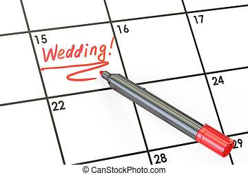 Wedding date on calendar concept, 3D rendering