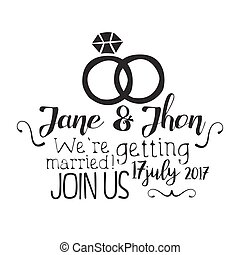Wedding Day Black And White Invitation Card Design Template With Calligraphic Text And Rings