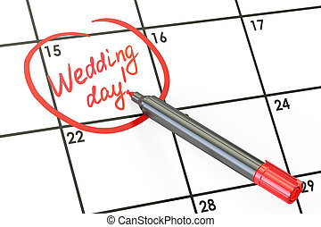 Wedding day date on calendar concept, 3D rendering