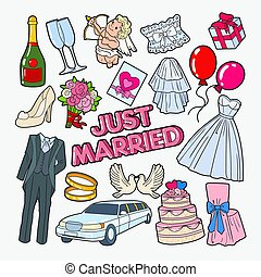 Wedding Day Doodle with Cake, Rings and Birds. Just Married. Vector illustration