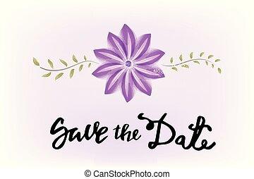 Wedding day flower watercolor logo
