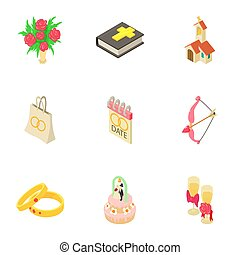 Wedding day icons set, isometric style - Wedding day icons...
