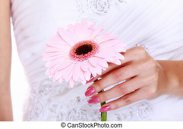 Wedding day. Pink flower in the hands of the bride