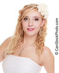 Wedding day. Portrait happy woman bride isolated