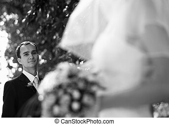 Wedding day! - bride and fiance(focus on the suiter)
