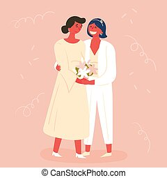 Wedding day, two brides. Lesbian couple marriage