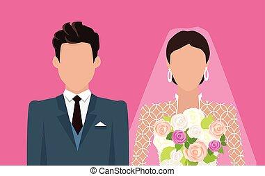 Wedding Day Web Banner. Newlyweds Couple Design