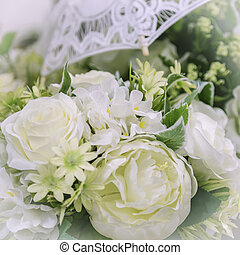 Wedding decor and accessory. Beautiful bouquet of white roses for the bride