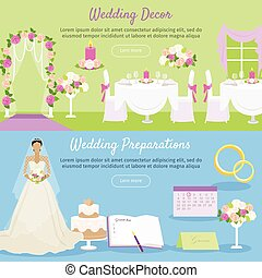 Wedding Decor and Preparations Web Banner. Vector