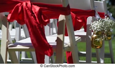 wedding, decor for the ceremony on the golf course.