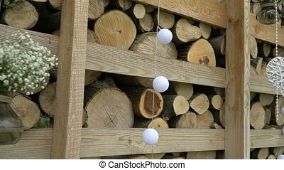 Wedding decor of balls in rustic style.