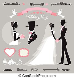 Wedding decor set. Retro. Flat silhouette bride, groom