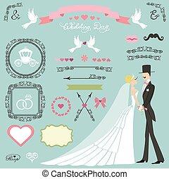 Wedding decor set.Flat  bride,groom,swirls,badges,ribbons