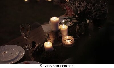 Wedding decor table - Beautiful composition candles bouquet...