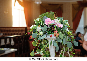 wedding decor, table decoration with fresh flowers