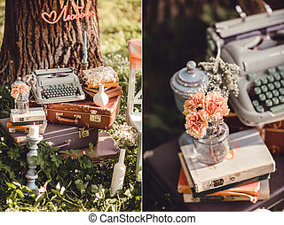 Wedding decor with flowers and candles in the forest