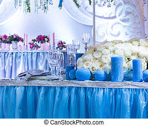 Wedding decorated room - Wedding decorated hall with bouquet...