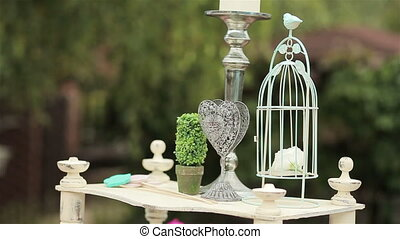 Wedding decoration. Bird cage - Wedding decoration of...