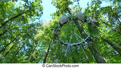 Wedding decoration ceremony Chandelier in the arch of...