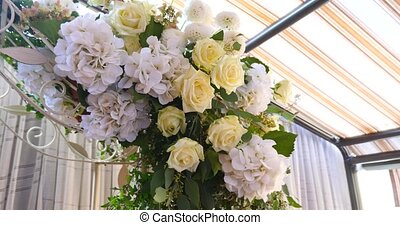 Wedding decoration ceremony Chandelier in the arch of flowers