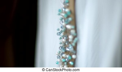 Wedding decoration made of wire and crystal handwork. -...