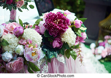 Wedding decoration of flowers for the ceremony in...