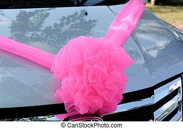 wedding decoration on a car