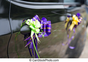 Wedding decoration on car .