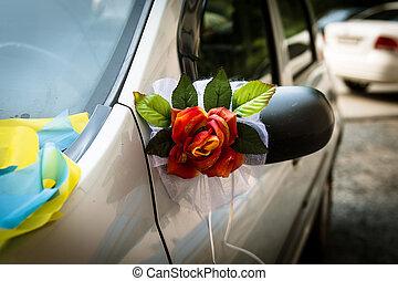 Wedding decoration on wedding car - Close up beautiful...
