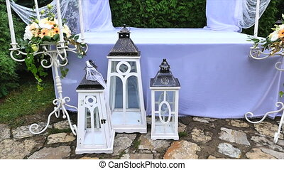 wedding decoration with table and white arch