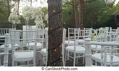 Wedding decorations and garlands after a religious ceremony....
