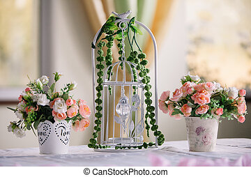 Wedding decorations at restaurant with all beauty and flowers
