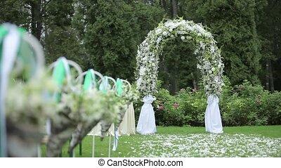 Wedding decorations from white flowers ceremony floristics