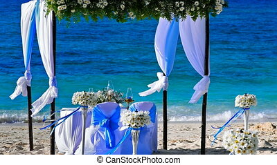 Wedding decorations on the beach