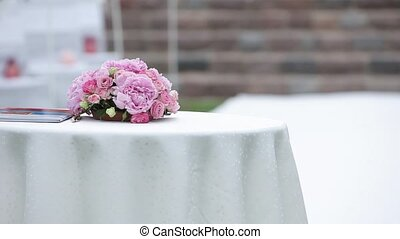 Wedding decorations Pink bouquet lies on the table