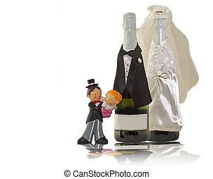 Wedding decorations - Small statue of bride and groom , with...
