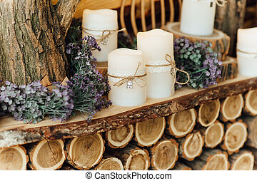 Wedding decorations with candles.
